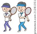 網球 老年夫婦 形狀 21281351