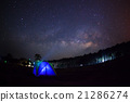 Silhouette of Tree with tent and Milky Way  21286274