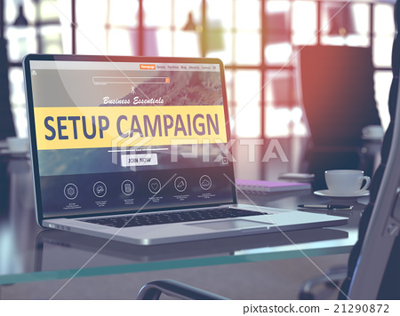 Setup Campaign on Laptop in Modern Workplace 21290872