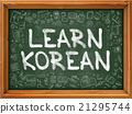 Green Chalkboard with Hand Drawn Learn Korean. 21295744