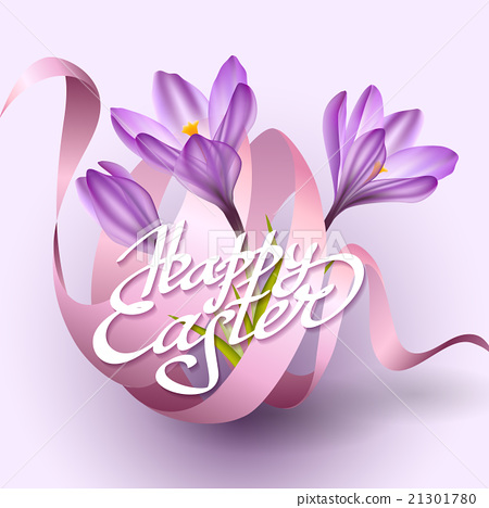 Happy Easter Greeting Card Template With Flowers - Stock