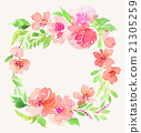 Watercolor wreath. Handmade. Illustration. 21305259