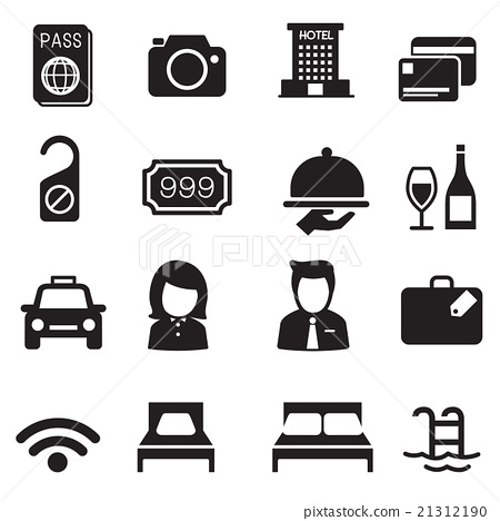 Hotel silhouette icons Set 21312190