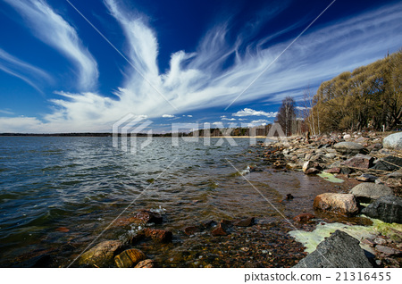 Landscape with clouds like a swan at sky 21316455