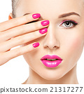 eautiful woman face with pink makeup of eyes and nails. 21317277
