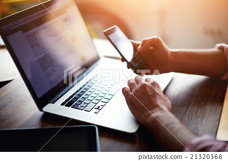 Stock Photo: Business man busy work with technology at office