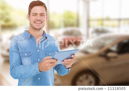 Composite image of man holding digital tablet over white backgro 21328505