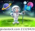 Cartoon Astronaut Alien Moon Scene 21329420