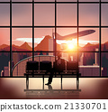 silhouette people on airport background. 21330701