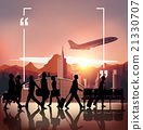 Silhouette people on airport background 21330707