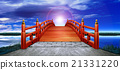 Horizontal Japanese style bridge Wooden vermillion red red night sky clouds backlight CG 21331220