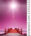 Vertical Japanese style bridge Horizontal long wooden vermillion red red backlight night purple cloud CG 21331222