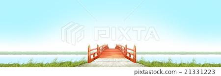 水平的日本式橋樑木朱紅色的油漆晴朗的藍天CG 21331223