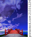 Vertical Japanese style bridge Horizontal wooden vermillion red red night cloud CG 21331224
