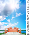 Vertical Japanese style bridge Wooden vermillion blue sky clouds backlight CG 21331225