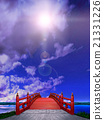 Vertical Japanese style bridge Wooden red paint Red night clouds Backlight CG 21331226