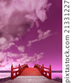 Vertical long purple Japanese style bridge Wooden red paint Night view cloud CG 21331227