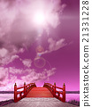 Vertical Japanese style bridge Wooden vermillion painted night violet backlight CG 21331228