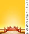 Vertical Japanese style bridge Wooden red paint Sunset scenery fine weather CG 21331231