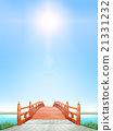 Vertical Japanese style bridge Wooden red paint backlight fine day sky CG 21331232