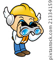 Construction worker Mascot in binoculars watching 21334159