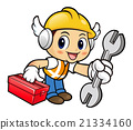 Construction is holding a spanner and Toolbox. 21334160