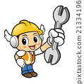 Construction worker Character is holding a spanner 21334196