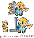 forklift truck in Construction worker Character 21334197