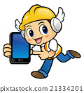 Construction Character is holding a smart phone 21334201