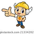Construction worker Character is guides gesture. 21334202