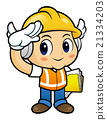 Construction worker Character is giving a salute. 21334203