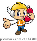 Construction  Character is holding a telephone. 21334309