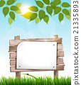 Natural background with leaves and a wooden sign 21335893