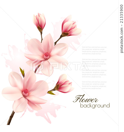 Stock Illustration: Spring background with blossom brunch of flowers