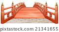 Japanese style bridge wooden red paint red white background CG 21341655