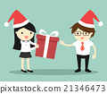 Business woman is giving gift box to businessman 21346473