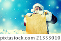 Traditional Santa Claus Paper Scroll Christmas Sign Concept 21353010