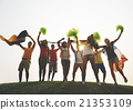 Group Casual People Cheering Outdoors Concept 21353109