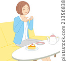 A woman drinking tea 21356838