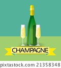 Champagne Bottle Alcohol Drink Icon Flat 21358348