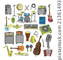 Set of Music Instruments. Hand drawn illustration  21361493