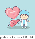 cute cartoon doctor with liver 21366307
