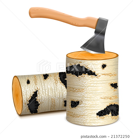 Vector Ax with Birch Firewood 21372250