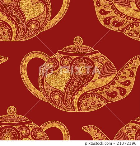 Seamless pattern made of patterned teapots 21372396