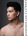 Asian man portrait with no makeup show his real skin in grey background - soft focus 21378443