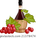 Red wine in italian fiasco bottle  21378474