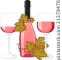 Rose wine bottle with two filled glasses 21378476