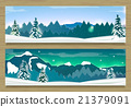 Banners with Winter Landscape and Snow Mountains. 21379091