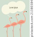 Illustration of thinking flamingos.  21380384