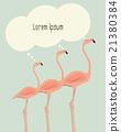 Illustration of thinking flamingos.  21380384
